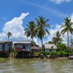 The waterfront houses in Mekong Delta