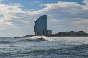 Surfing in Barceloneta