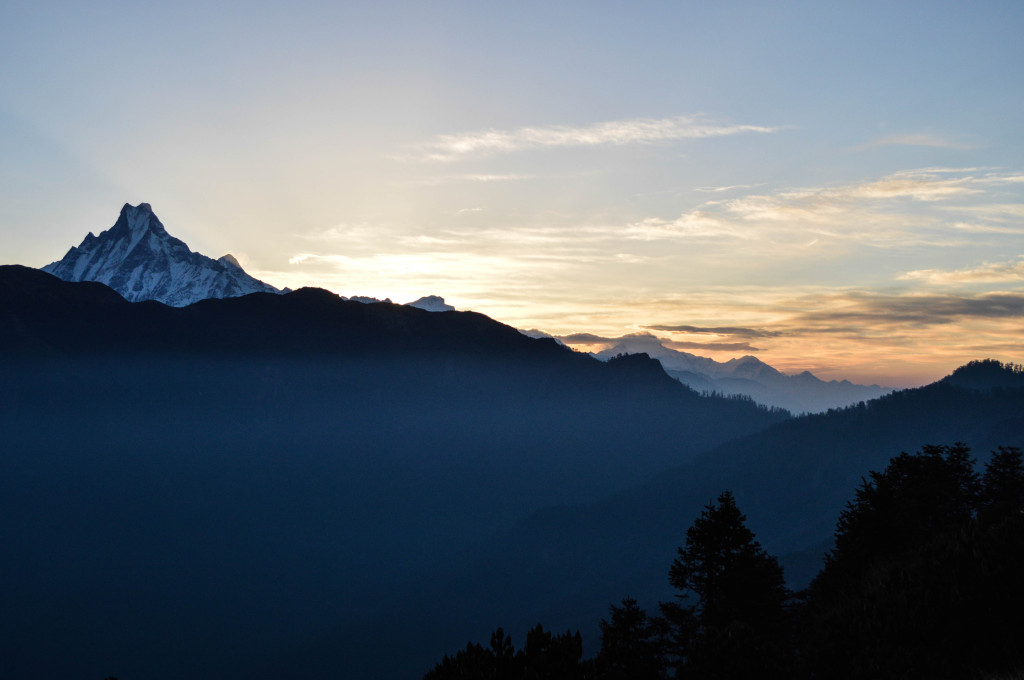 The sun rising over Machhapuchhre