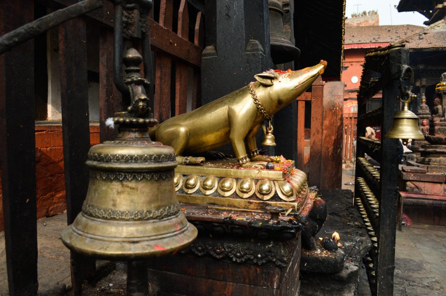 By the temple in Durbar Square