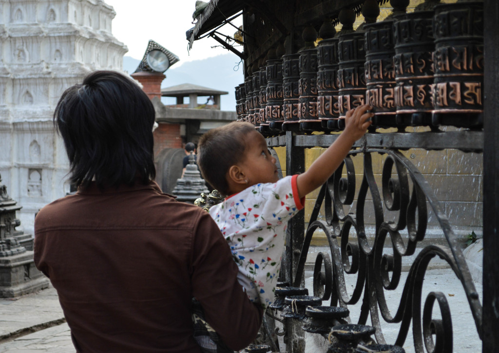 The prayer wheels at Swayambhunath