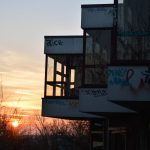 Sun setting down at the Teufelsberg