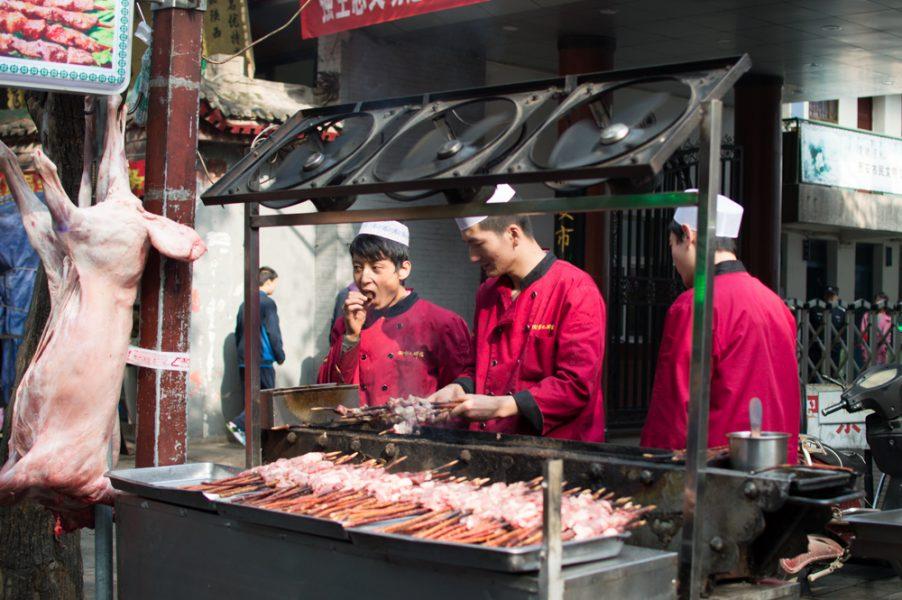 Grilled meat skewers