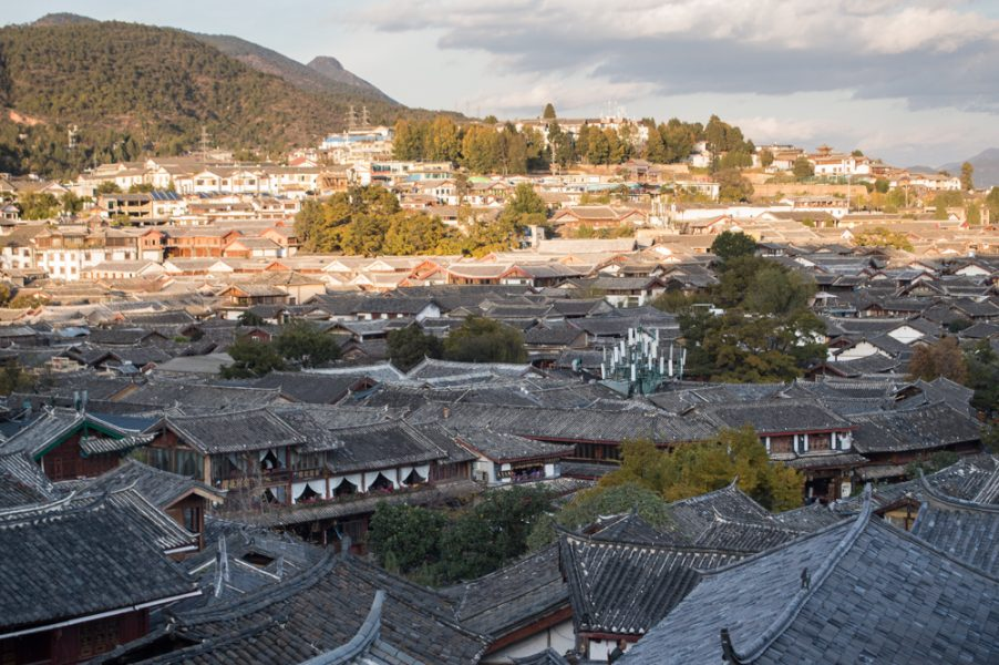 A view of rooftops in Lijiang Old Town