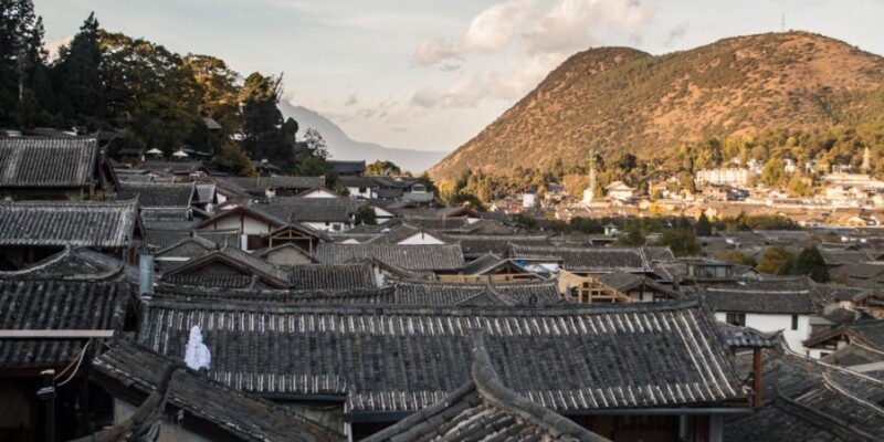 A view of rooftops in Lijiang
