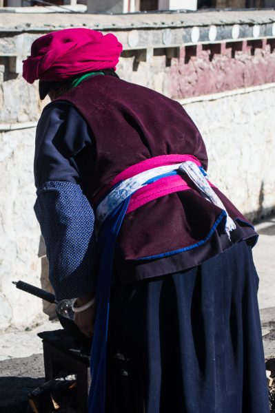 Tibetan woman with a typical pink hat